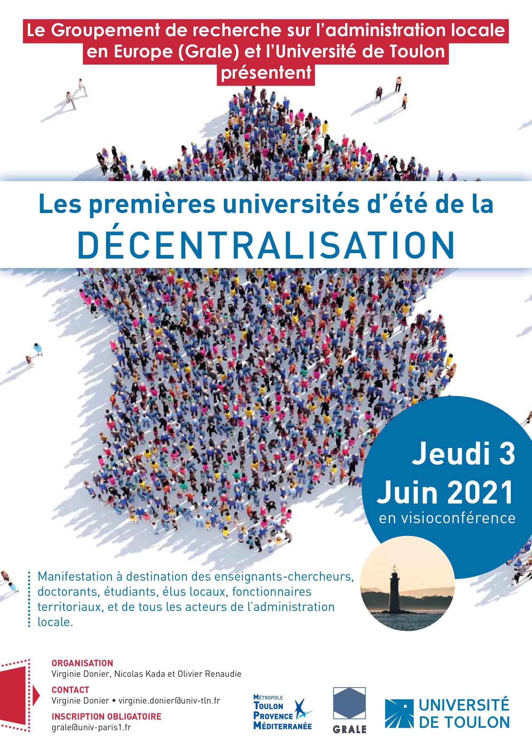 Les Premières Universités d'été de la décentralisation, 3 juin 2021 – Programme